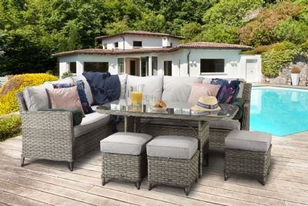 Edwina corner dining sofa in 3 wicker special grey weave